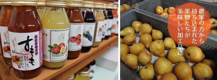 農家の方から持ち込まれた果物たちが美味しい加工品に